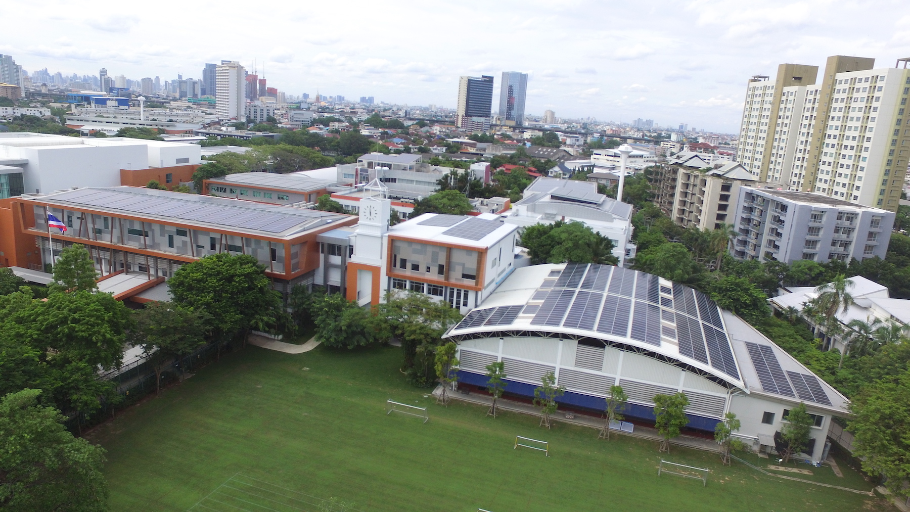 Solar panels were installed on every building